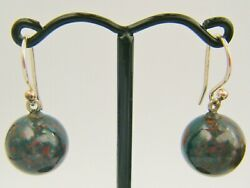 A Pair Of C19th Century Victorian Era Scottish Bloodstone Silver Hooped Earrings