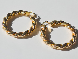 Accessorize gold colour large hoop earrings bamboo party fancy door knockers