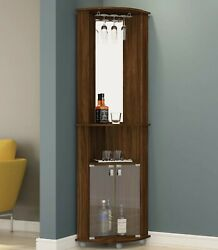Home Bar Cabinet Corner Tower Wine Liquor Storage Display Rack Mirror Mini Pub