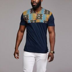 Men Africa Fashion Dashiki Shirts Slim Fit T-shirt Casual Printed Top Plus Size