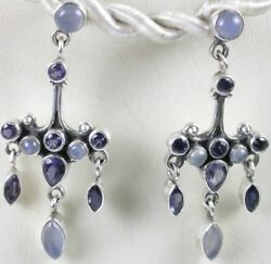 Sterling Silver Iolite amp; Chalcedony Chandelier Earrings Wedding Mother of Bride $108.99