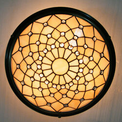 Vintage Tiffany Ceiling Lamp Stained Glass Chandelier Lighting Fixture 3 light $129.00