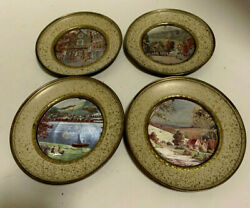 Vintage Set of 4 Solid Brass 5 5 8quot; Mini Framed Country Scenes MADE IN ENGLAND $18.99