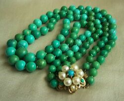 Stunning Vintage Jade Green Turquoise 14K Pearl Clasp Necklace    ONE OF A KIND