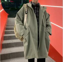 2019 Autumn New Mens Trend Korean Loose Casual Hooded Jacket thin Trench Coat sz $43.15