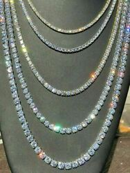 Tennis Chain Real SOLID 925 Sterling Silver Single Row ICY Diamonds Bust Down