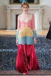 VALENTINO RUNWAY LONG SLEEVE PLEATED COLORBLOCK LACE SILK GOWN IT 38