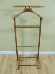 Vintage Wood Valet Butler Clothes Stand on Castors Made in Italy wooden