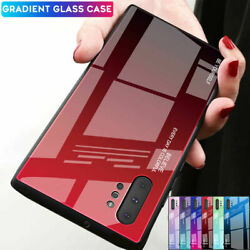 For Samsung Galaxy Note10 Plus Hybrid Cover Fashion Gradient Tempered Glass Case
