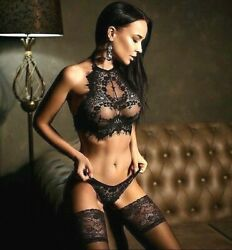 Sexy Lingerie Underwear Sleepwear Women G string Black Lace Babydoll Nightwear $8.73