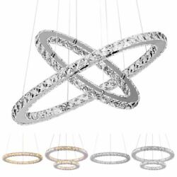 Modern Galaxy Crystal Chandeliers LED Ring Light Adjustable Pendant Ceiling Lamp $64.99