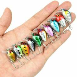 10 Fishing Lures Lots Of Mini Minnow Fish Bass Tackle Hooks Baits Crankbait $4.74