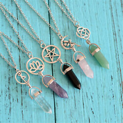 1*Gemstone Bead Hexagon Pendulum Chakra Healing Point Reiki Pendant Fit Necklace