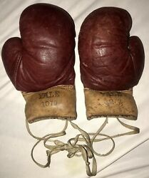 Tiny Vintage Yale Leather Boxing Gloves 3oz Antique Sports Box Childs Boys 1079 $195.00