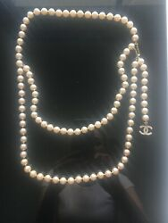 Authentic CHANEL Classic CC Gold Crystal Pearl Long NecklaceBelt