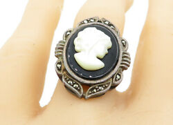 925 Silver - Vintage Black Onyx & Mother Of Pearl Cameo Ring Sz 7 - R11180