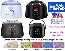 Hair Removal Wax Electric Warmer Waxing Kit + 400g Hard Wax beans