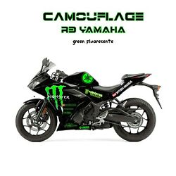 Yamaha R3 stickers Graphics Decal Kit Wrap Camouflage monster fluorecente green