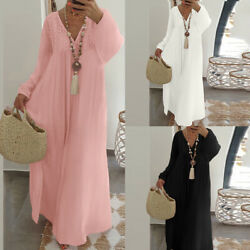 S 5XL Women Long Sleeve Cotton Loose Long Maxi Dress Kaftan V Neck Bohemia Dress $22.07