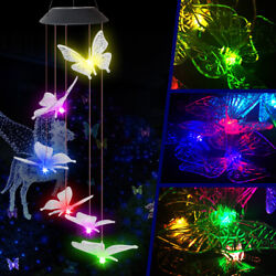 Large Crystal Butterfly Wind Chime Solar Powered Lights Color-Changing Decor $13.49