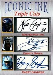 Walter Payton Emmitt Smith Barry Sanders Iconic Ink Triple Cuts Auto 11000 HOF