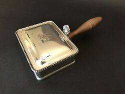 Silent Butler  Wood Handle Crumb Ash Tray Silver Plated Rogers