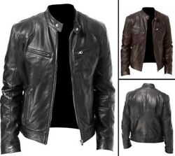 Men Vintage Cool Motorcycle Jacket Leather Long Sleeve Stand Collar Bomber Coat