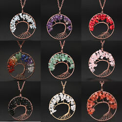 Pendant Necklace Natural Gemstone Tree of Life 7 Chakra Healing Crystal Charm