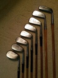 Playable Burke Stainless Hickory Wood Shaft Complete Iron Set - 1 to 7+Jigger