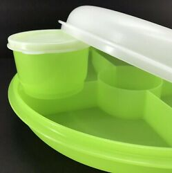Tupperware Small Serving Center Divided Tray Light Green wSnack Cup New