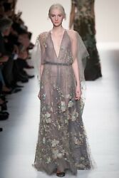 VALENTINO $44000 RUNWAY TULLE EMBELLISHED MAXI GOWN IT 40