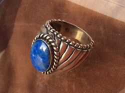 Carolyn Pollack Sterling Silver And Lapis Lazuli Southwestern Dome Ring Sz 7.5