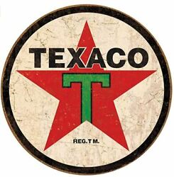 TEXACO GAS AND OIL ROUND TIN SIGN RUSTIC METAL GAS STATION WALL ART $15.92