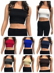 Seamless Spandex Crop Tube Top Strapless Tank Top ONE SIZE REG OR PLUS $6.99