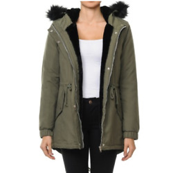 Women Winter Parka Military Coat Long Warm Faux Fur Trench Hooded Jacket S 3lx $24.99