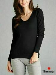 Woman Thermal V Neck Top T Shirt Solid Plain Waffle Knit S 3X $5.99