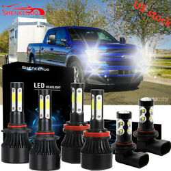 6x White Combo LED HL Beam Headlight Bulbs + Fog Light For 2015 2016 2017 F150