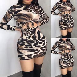 Women's Long Sleeve Bandage Bodycon Evening Party Cocktail Club Short Mini Dress