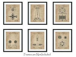 6 Nikola Tesla Wall Art Patent Prints 8quot;x10quot; Geek Home Decor Engineer Gifts $18.95