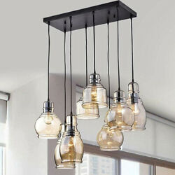 Antique Chandeliers Cognac Glass Cluster 8 Light Pendant Lamp Ceiling Fixtures $144.89