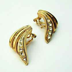Vintage Ladies Gold Tone Diamante Lever Back Large Earrings Bling