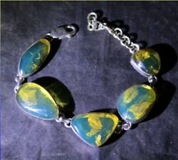 Dominican Natural Crystal Clear Sky Blue Amber .925 Sterling Silver Bracelet