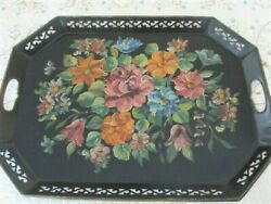 Explosion of Beautiful Flowers Antique Tole Serving Butler Fireplace Mantle Tray $61.20