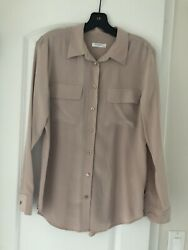 Equipment Women's Slim Signature Silk Shirt-M-Rose Smoke-New Without Tag