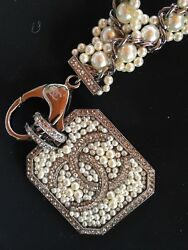 Chanel New Runway Collector $3350 Pearl Chain Necklace And CC Pendant Receipt