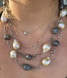 Sheryl Lowe Collector Diamond Beads And Pink Baroque Pearl Chain $7100 Receipt