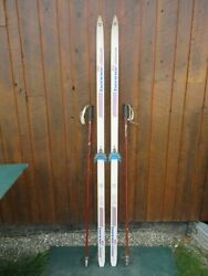 Ready to Use Cross Country 77quot; BENNER 603 200 cm Skis WAXLESS Base Poles $49.69