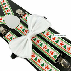 Christmas Novelty Naughty Holiday Reindeer White Bow Tie amp; Suspender $9.95