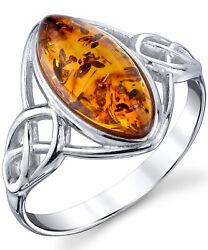 Sterling Silver Baltic Amber Celtic Design Ring with Cognac Color Marquise Shape