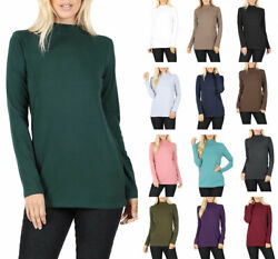 Womens Cotton Long Sleeve Mock Neck Turtleneck Top Shirt $13.95